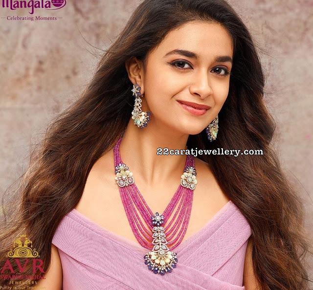 Keerthi Suresh Trendy Jewelry by AVR Swarnamahal