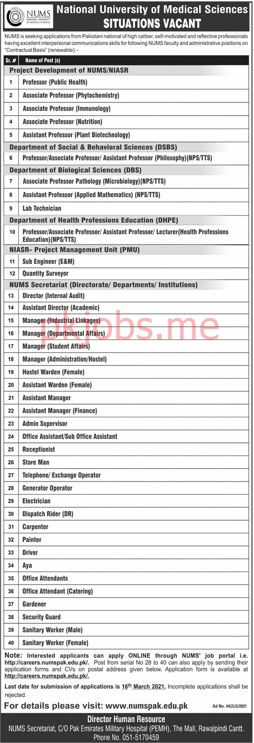Latest National University of Medical Sciences Teaching & Management Posts 2021