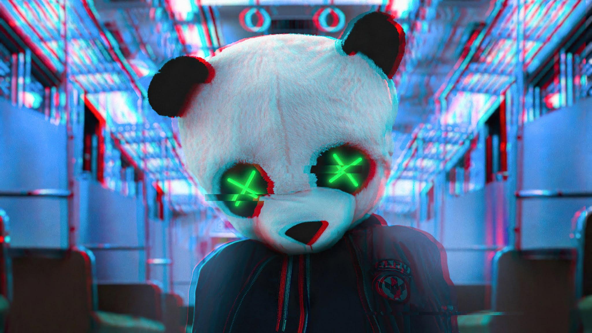 Anonymous Panda Neon Eyes Wallpaper