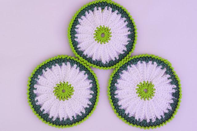 3 -Crochet Imagen Posavasos de margarita a crochet y ganchillo por Majovel Crochet