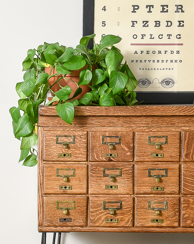 Refinished 18 drawer card catalog