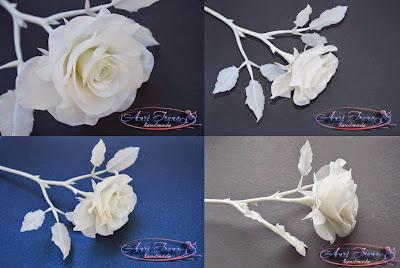 Монохромная белая роза холодный фарфор