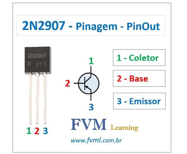 Pinagem - Pinout - Transistor - PNP - 2N2907 - Características