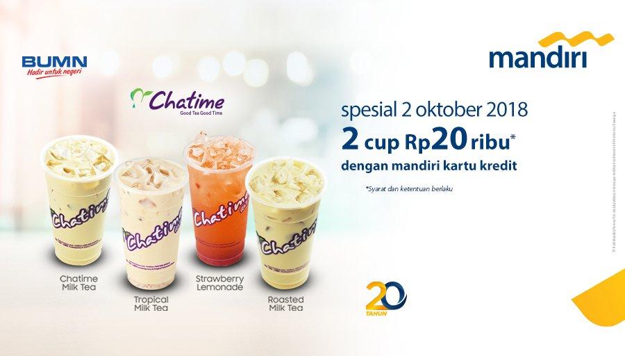 Bank Mandiri - Promo HUT Mandiri CUkup 20 Ribu Dapat 2 Cup Chatime (2 Okt 2018)