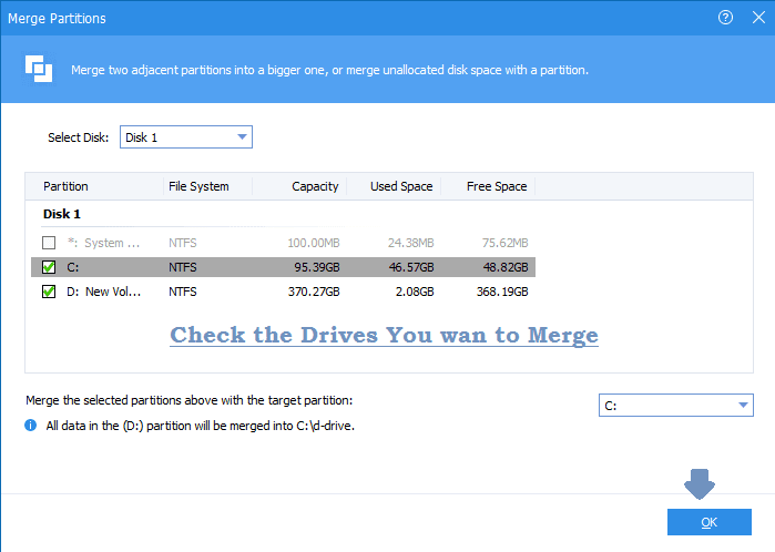 check drives for merging