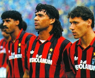 Gullit (centre) and Dutch team-mates Frank Rijkaard (left) and Marco Van Basten transformed Milan