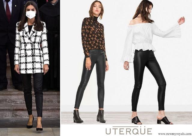 Queen Letizia of Spain wore Uterque Black Leather Pants