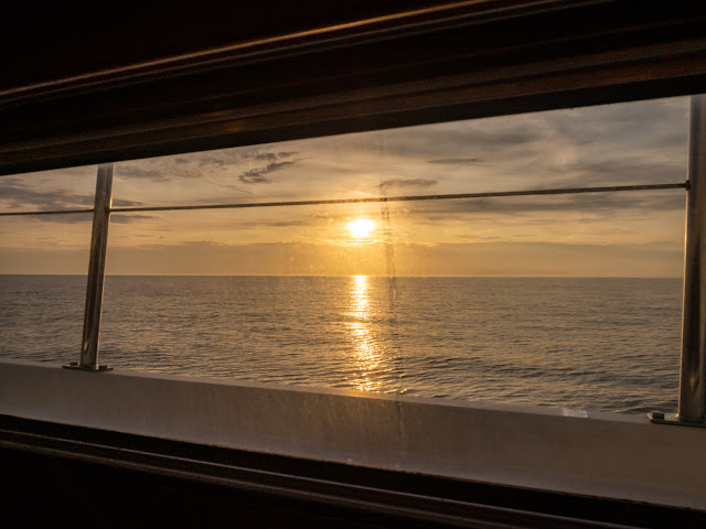 Photo of the view from Ravensdale's galley as the sun was going down