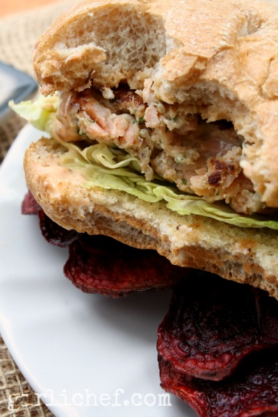 Salmon Burgers w/ Pickled Ginger & Coriander + Sriracha Mayo | www.girlichef.com