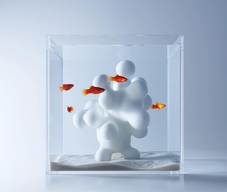 Acuarios llenos con flora impreso en 3D del diseñador Haruka Misawa