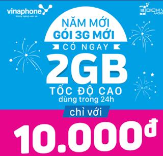 Gói cước D2 Vinaphone  có ngay 2GB lưu lượng 3G/4G chỉ 20.000 đ trong ngày