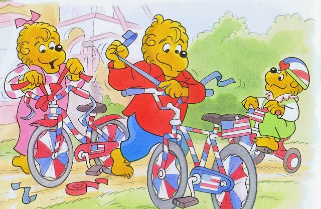 The bear cubs prepare their bikes for the parade.