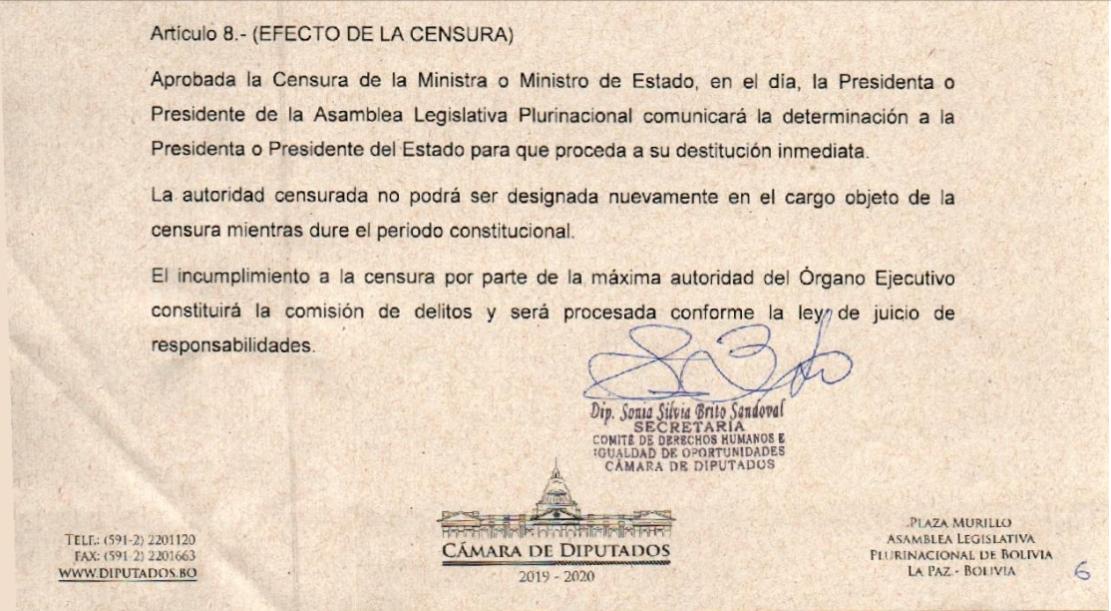 El proyecto de censura presentado por la masista Brito / CÁMARA DIPUTADOS
