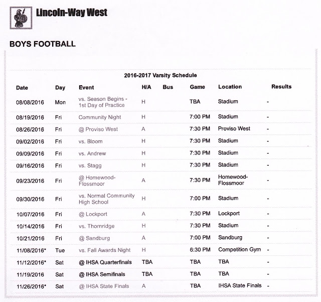 Printable LWHS West 2016 Football Schedule