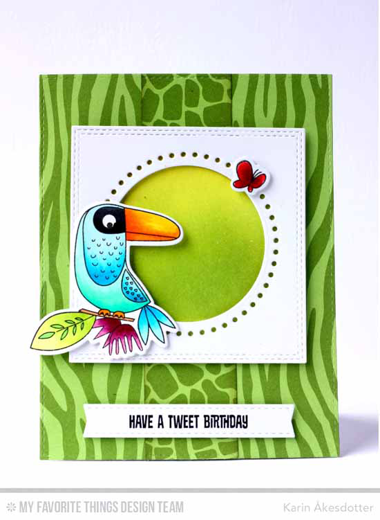 Handmade card from Karin Åkesdotter featuring Birds of Paradise stamp set and Die-namics, Stitchable Dot Circle STAX, Double Stitched Square STAX, and Blueprints 23 Die-namics #mftstamps