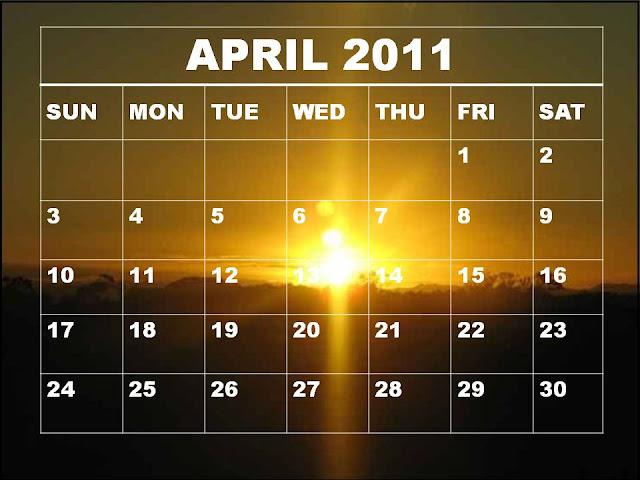 April 2011 calendar with sunset