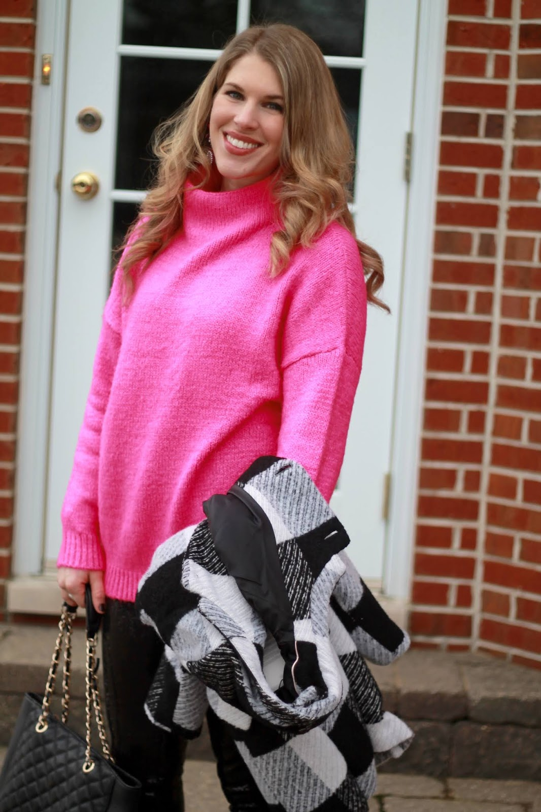 Sequins for Valentine's Day, plaid coat, pink tunic sweater, sequin leggings, sequin skirt, sequin tank, red blazer, white denim, pink cardigan, grey camisole, sock booties,