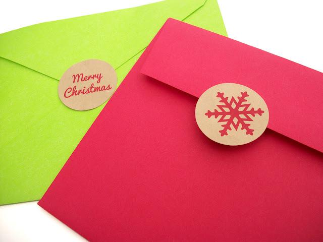 Merry Christmas snowflake envelope seals
