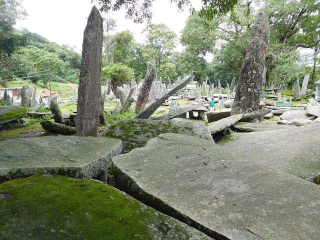 Horizontal dolmen slabs at Nartiang Monoliths, Meghalaya