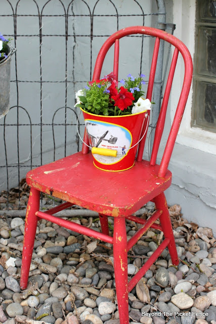 junk planter, garden junk, upcycled, old chair, child's chair, flowers, http://bec4-beyondthepicketfence.blogspot.com/2016/05/junk-planters.html