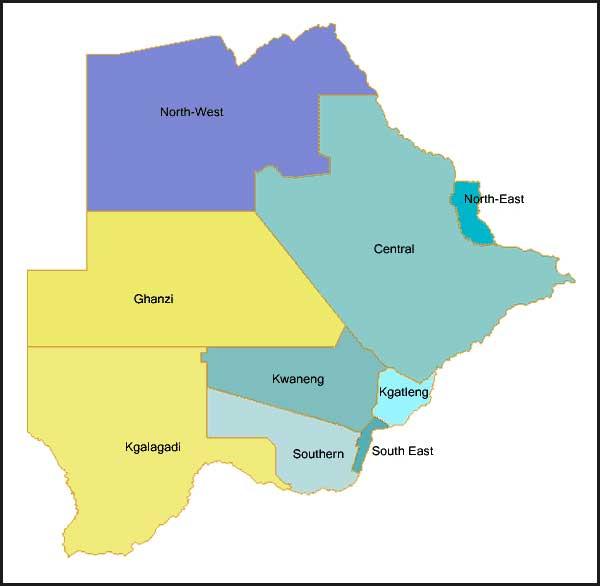 Gambar Peta distrik di Botswana