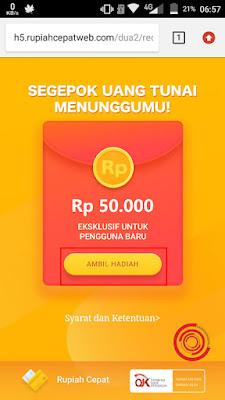 Silakan kalian klaim dulu Bonus untuk pengguna baru sebesar Rp. 50.000 di Bonus Rupiah Cepat sebelum kalian mendownload aplikasinya