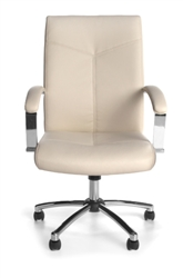 Cream Leather Conference Chair