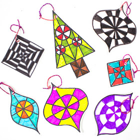 How to make Op-Art Christmas Ornaments with Kids