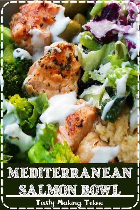 Mediterranean salmon bowl - a healthy easy dinner recipe that is full of flavor, super satisfying and ready in around 30 minutes. To make this low-carb / keto use this low-carb hummus instead of regular hummus.