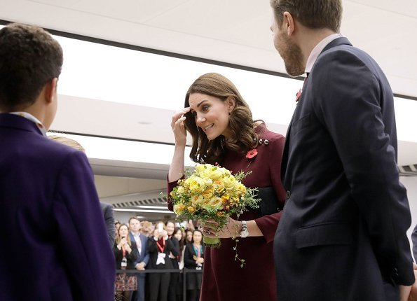 Kate Middleton wore Goat Fashion Eloise Tunic dress and Tod's Suede Pumps, Mappin & Webb earrings