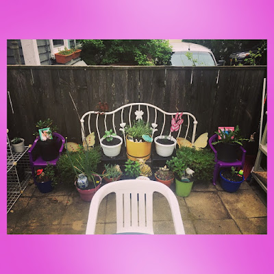 herbal and flower container garden on a urban patio garden