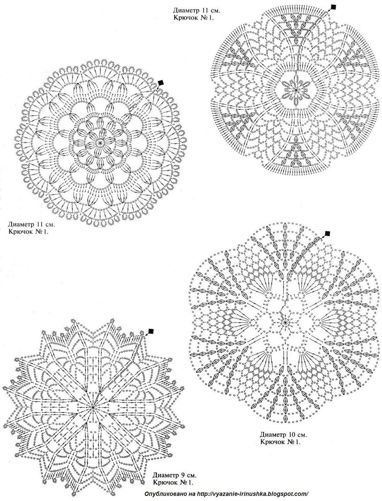 Схема круглой салфетки крючком