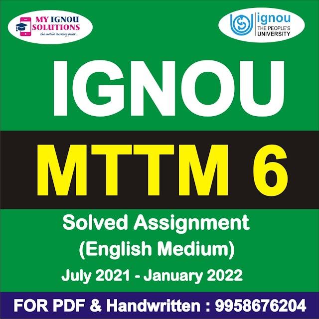 MTTM 6 Solved Assignment 2021-22