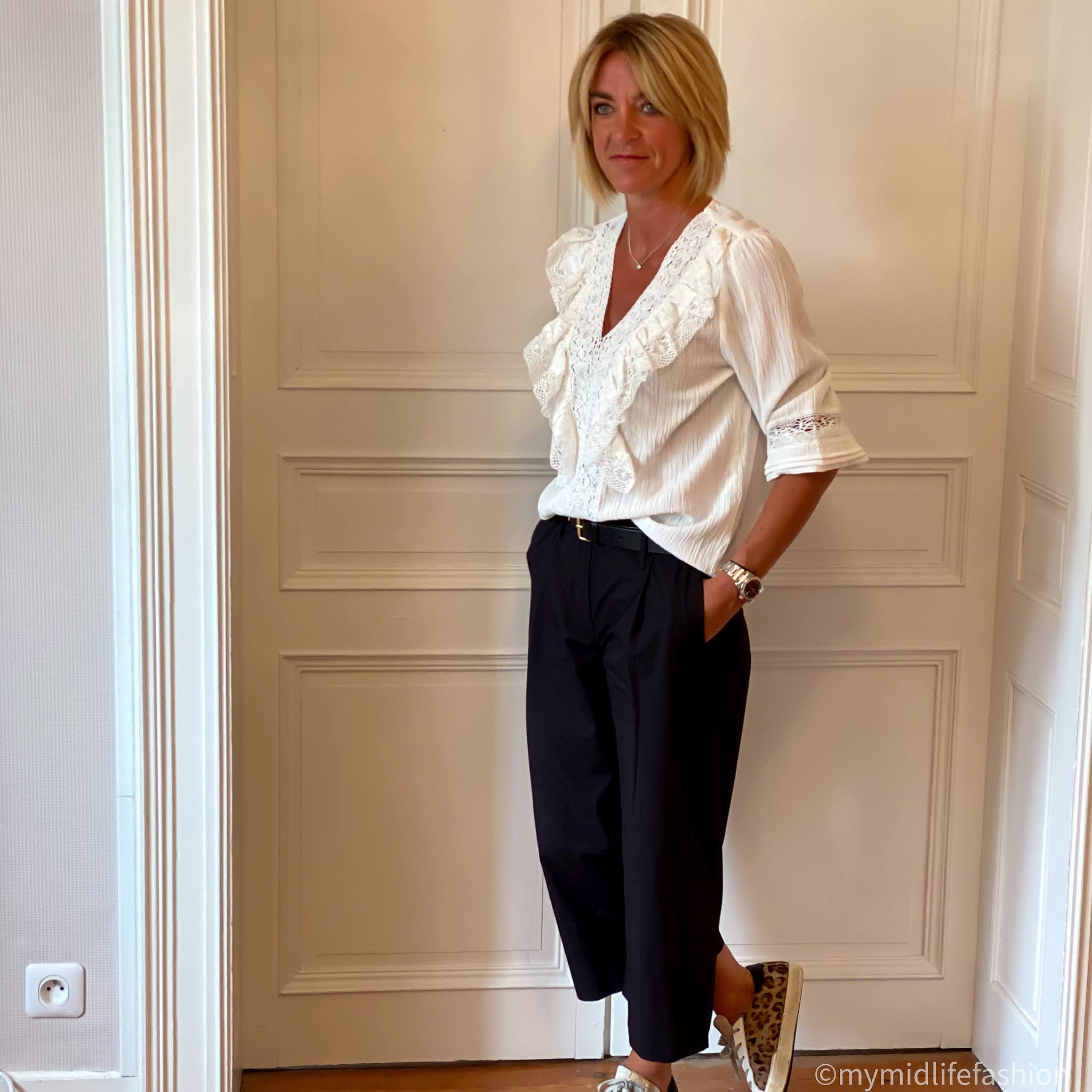 my midlife fashion, saint and Sofia shoreditch black culotte, zara ruffle lace trim blouse, boden classic buckle belt, golden goose superstar low top leopard print trainers