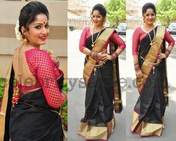 Madhavi Latha Black Silk Sari