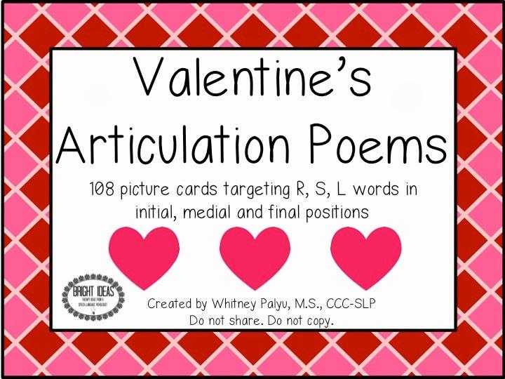 bright ideas slp valentine 39 s articulation poems. Black Bedroom Furniture Sets. Home Design Ideas