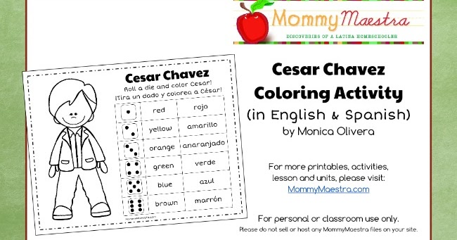 Mommy Maestra Free Printable Cesar Chavez Coloring Activity
