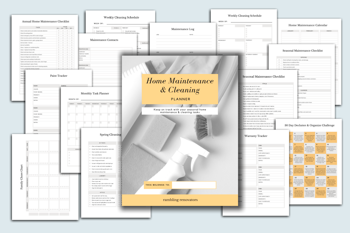 spring cleaning planner, home maintenance planner