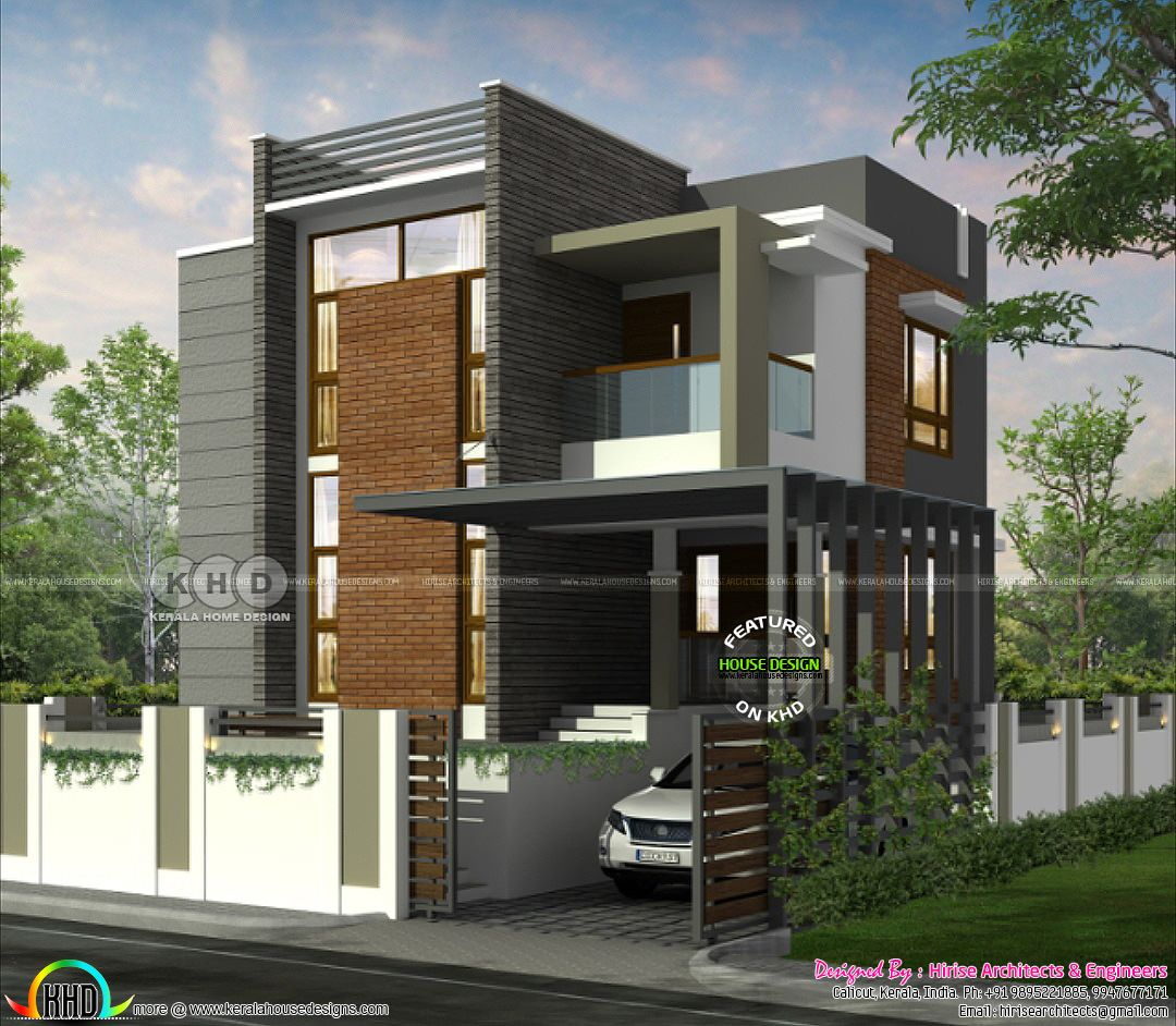 1450 Sq Ft 3 Bedroom Modern Flat Roof House Kerala Home Design And Floor Plans 8000 Houses