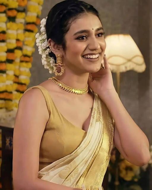 Latest Saree Photos of Actress Priya Prakash Varrier Actress Trend