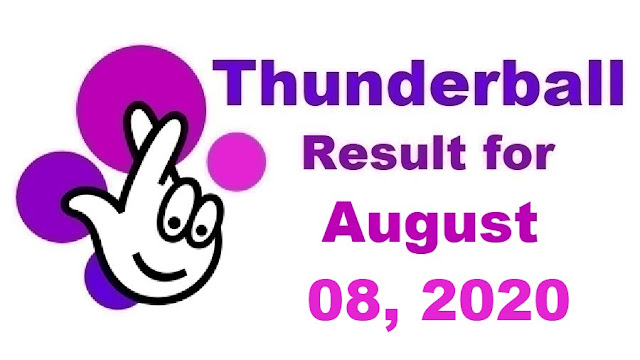 Thunderball Results for Saturday, August 08, 2020