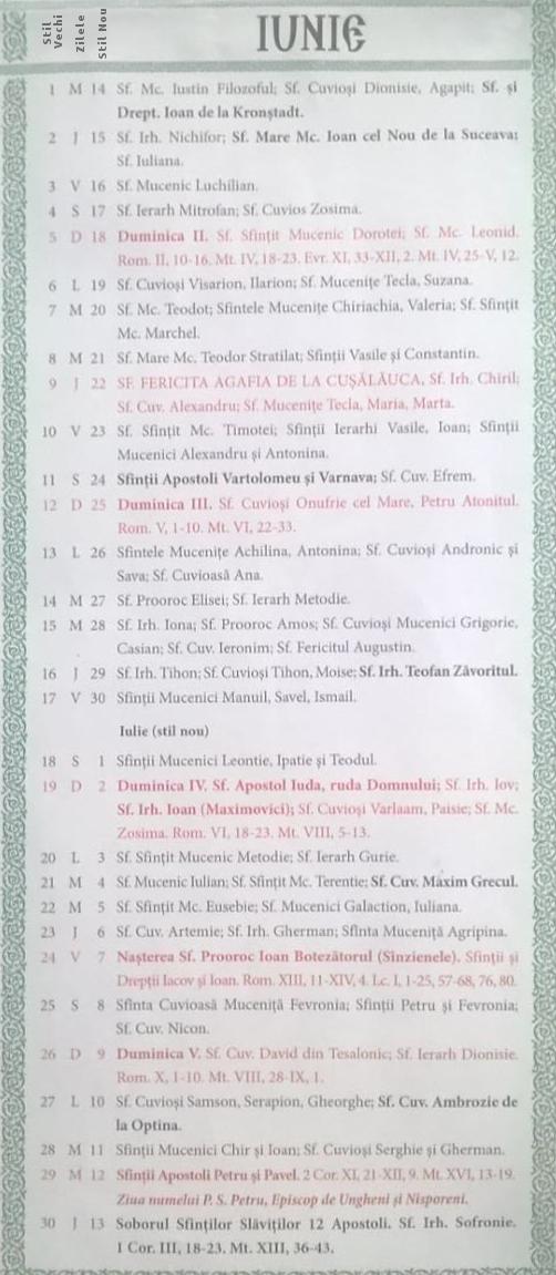 Calendar Crestin Ortodox 2016-2017 stil vechi Republica Moldova ...