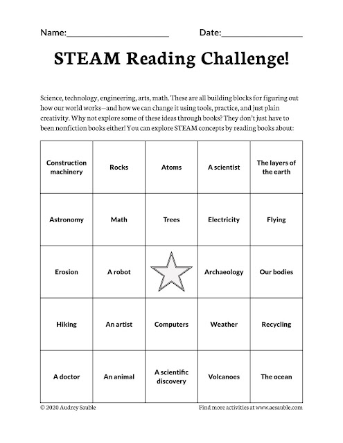 STEAM reading challenge bingo card