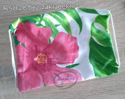 Adzik tworzy - wielorazowa maska ochronna z bawełny kwiaty