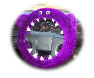 Purple fuzzy monster steering wheel cover - Poppys Crafts