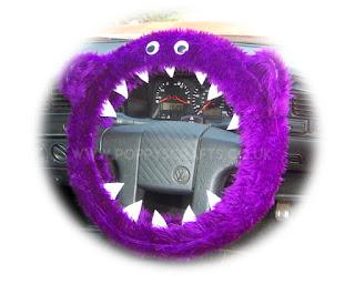 Purple fuzzy monster steering wheel cover - Poppys Crafts