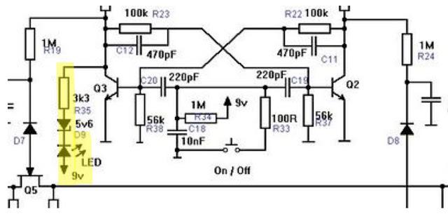 Schaltplan: Status-LED mit zusammengehörenden Komponenten