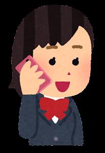 携帯電話で話す人のイラスト(女子学生)