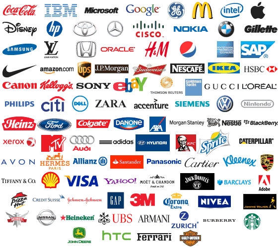Imagen con logotips de las marcas mas importantes a nivel mundial.