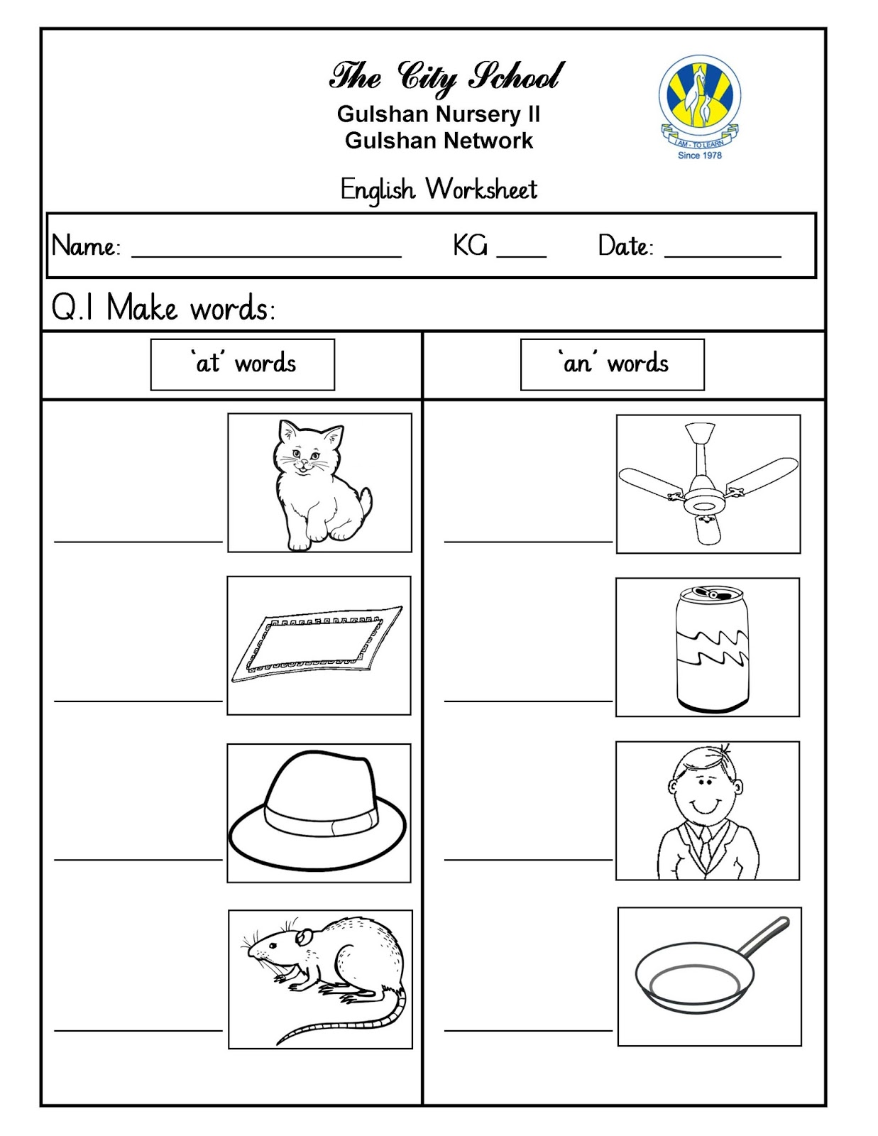 Worksheet English Kg 1